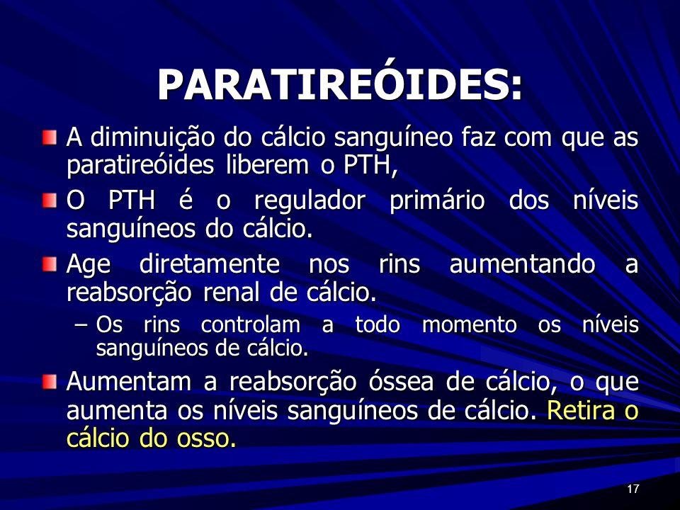 PARATIREÓIDES:A diminuição do cálcio sanguíneo faz com que as paratireóides liberem o PTH,