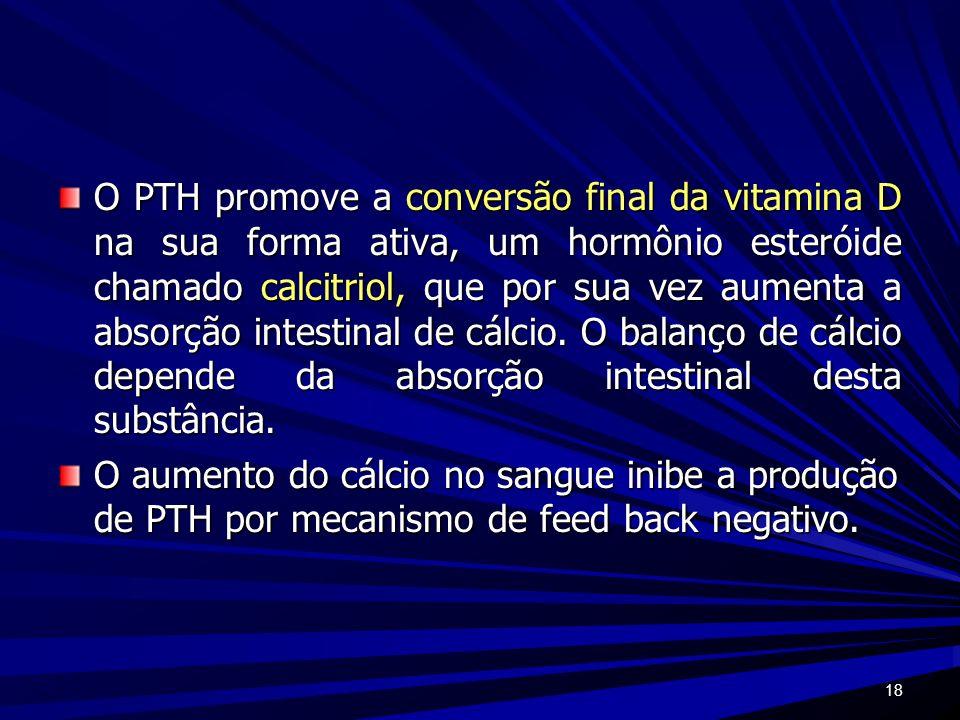 O PTH promove a conversão final da vitamina D na sua forma ativa, um hormônio esteróide chamado calcitriol, que por sua vez aumenta a absorção intestinal de cálcio. O balanço de cálcio depende da absorção intestinal desta substância.