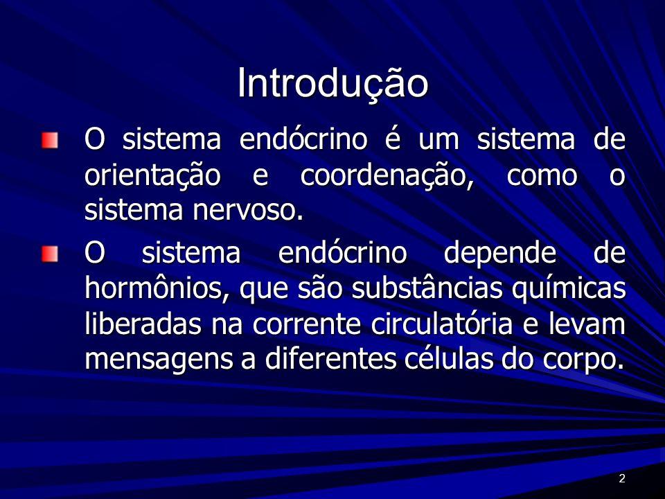 Introdução O sistema endócrino é um sistema de orientação e coordenação, como o sistema nervoso.