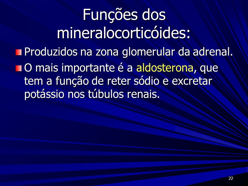 Funções dos mineralocorticóides: