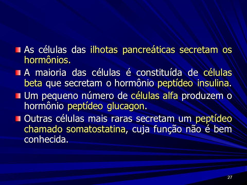 As células das ilhotas pancreáticas secretam os hormônios.