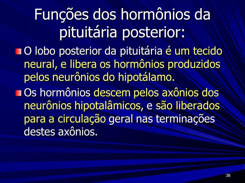 Funções dos hormônios da pituitária posterior: