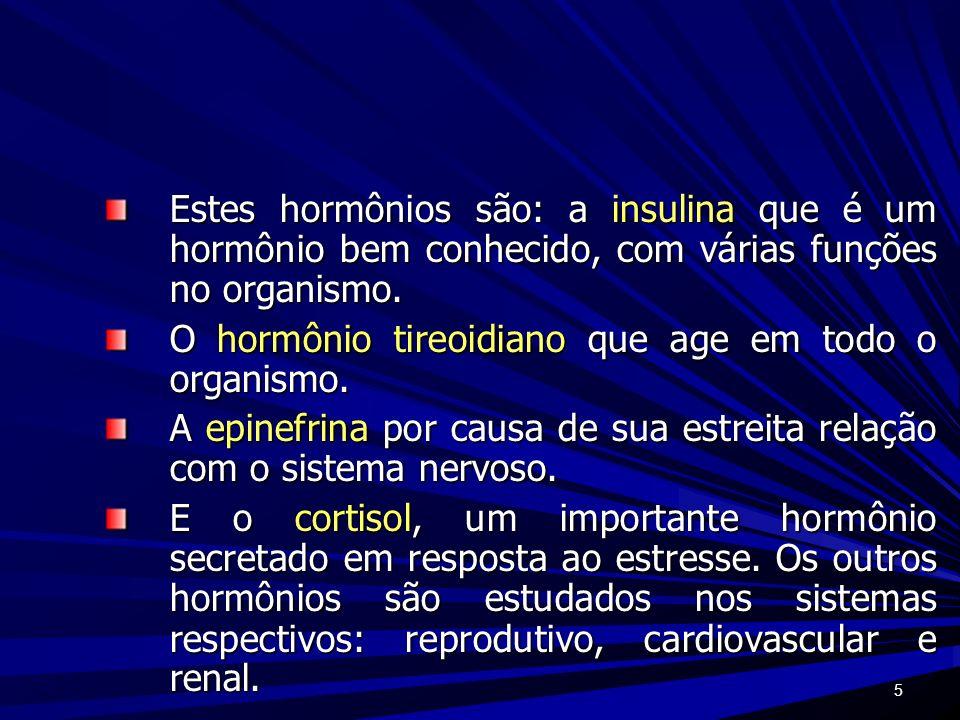 Estes hormônios são: a insulina que é um hormônio bem conhecido, com várias funções no organismo.