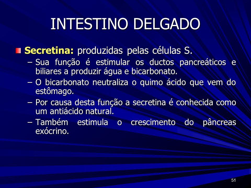 INTESTINO DELGADO Secretina: produzidas pelas células S.