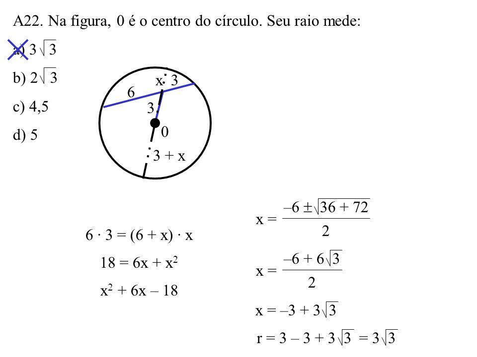 A22. Na figura, 0 é o centro do círculo. Seu raio mede: