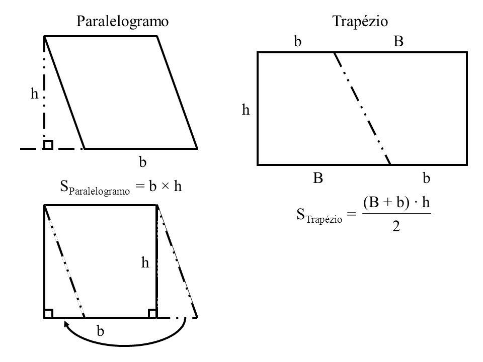 Paralelogramo Trapézio h b B h b SParalelogramo = b × h STrapézio = (B + b) · h 2 b h