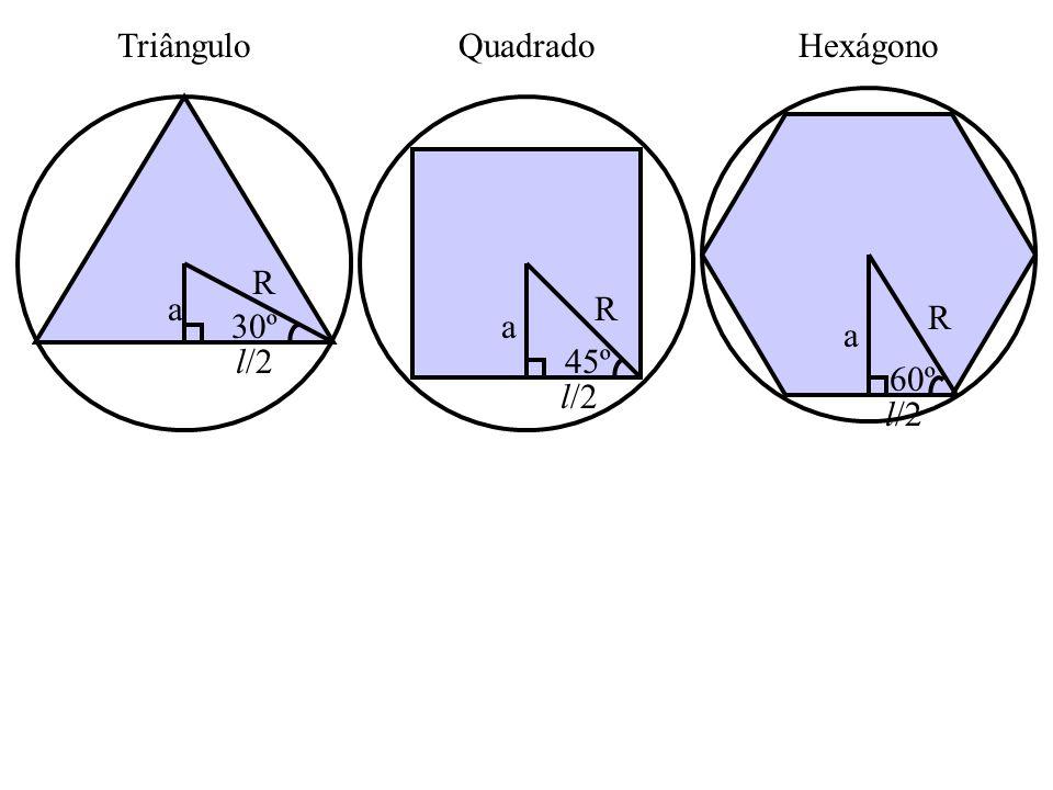 Triângulo Quadrado Hexágono 60º a R l/2 30º a R l/2 45º a R l/2