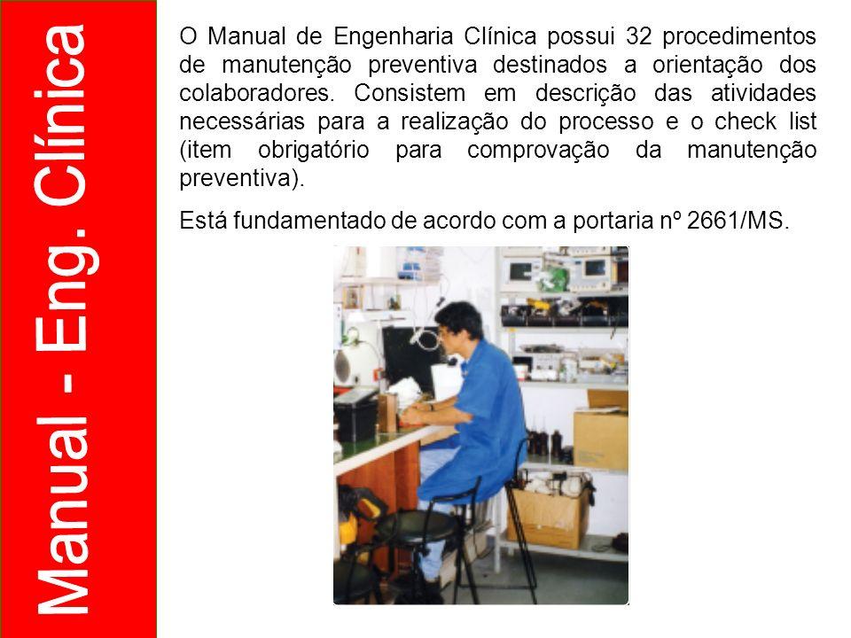 O Manual de Engenharia Clínica possui 32 procedimentos de manutenção preventiva destinados a orientação dos colaboradores. Consistem em descrição das atividades necessárias para a realização do processo e o check list (item obrigatório para comprovação da manutenção preventiva).