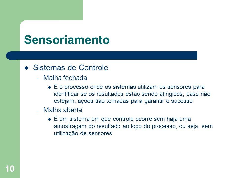 Sensoriamento Sistemas de Controle Malha fechada Malha aberta