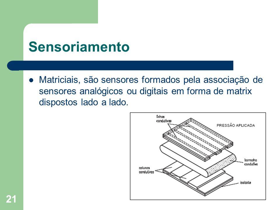 Sensoriamento Matriciais, são sensores formados pela associação de sensores analógicos ou digitais em forma de matrix dispostos lado a lado.