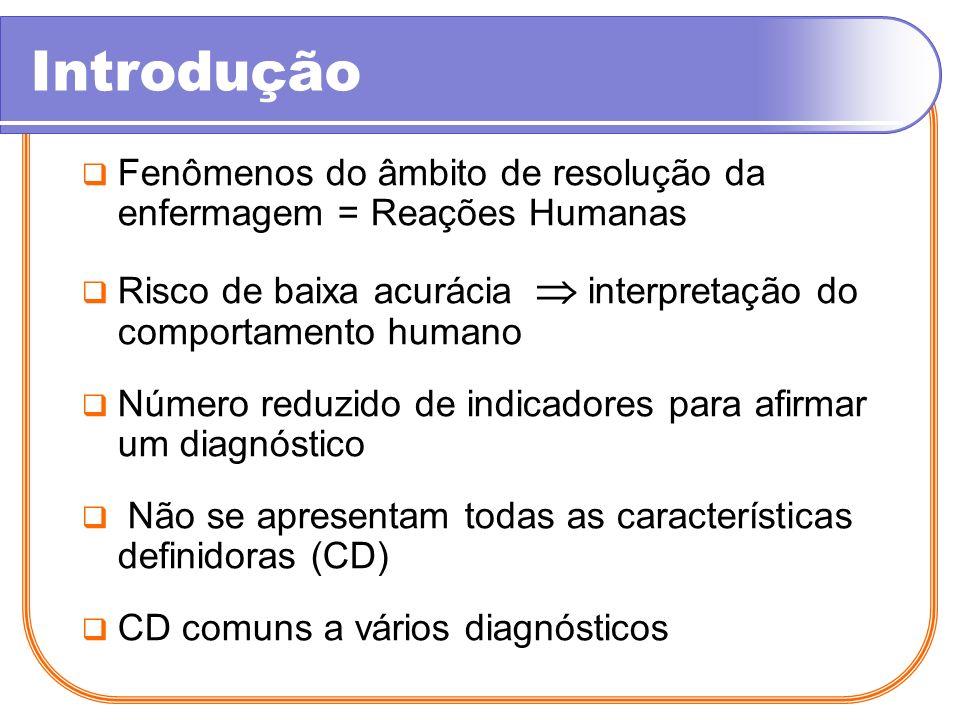 Introdução Fenômenos do âmbito de resolução da enfermagem = Reações Humanas. Risco de baixa acurácia  interpretação do comportamento humano.
