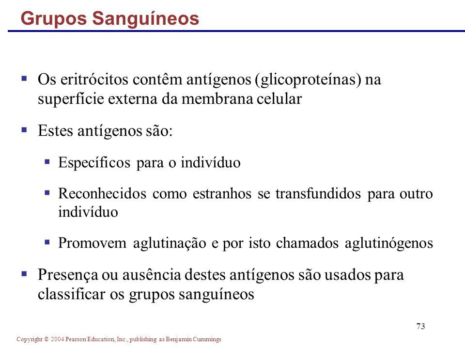 Grupos Sanguíneos Os eritrócitos contêm antígenos (glicoproteínas) na superfície externa da membrana celular.