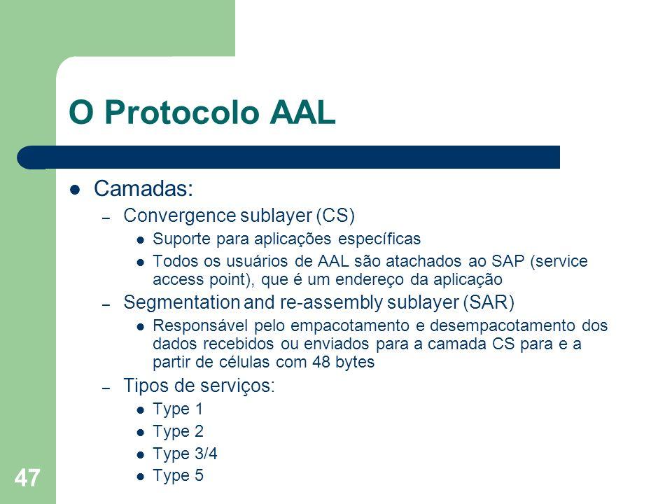 O Protocolo AAL Camadas: Convergence sublayer (CS)