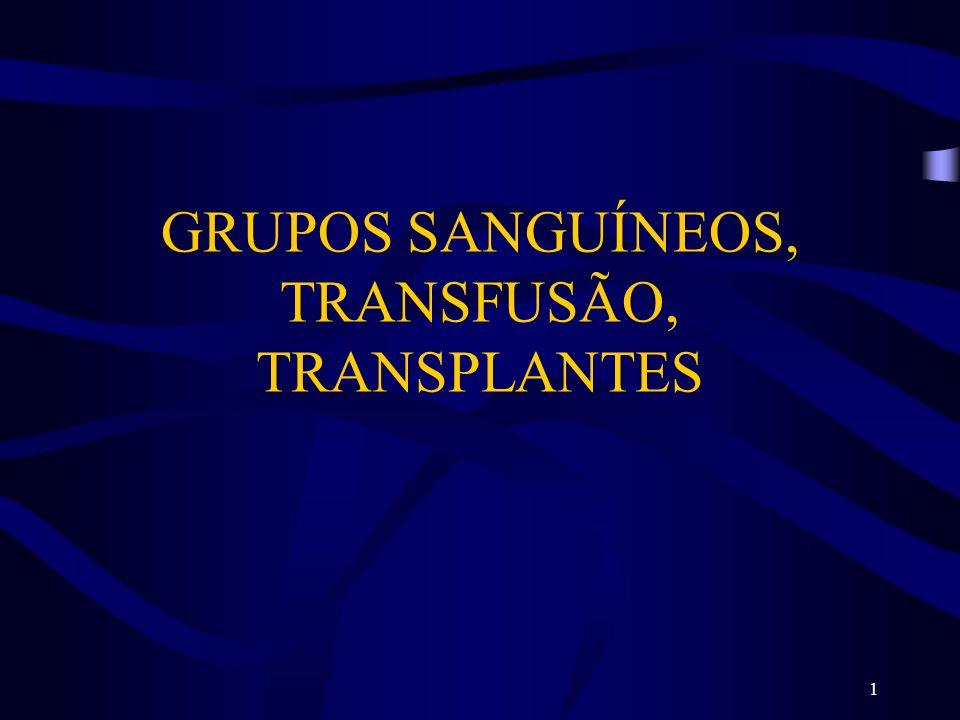 GRUPOS SANGUÍNEOS, TRANSFUSÃO, TRANSPLANTES