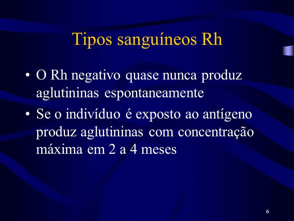 Tipos sanguíneos Rh O Rh negativo quase nunca produz aglutininas espontaneamente.