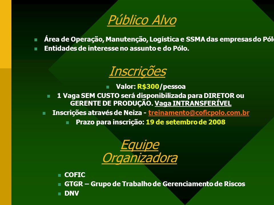 Público Alvo Inscrições Equipe Organizadora