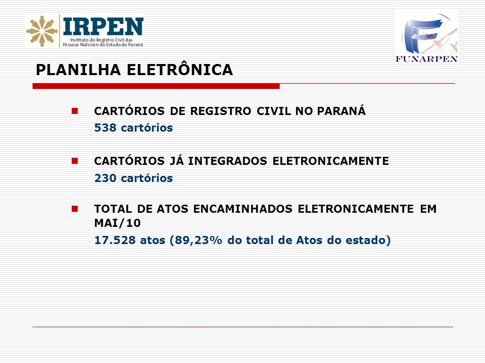 PLANILHA ELETRÔNICA CARTÓRIOS DE REGISTRO CIVIL NO PARANÁ