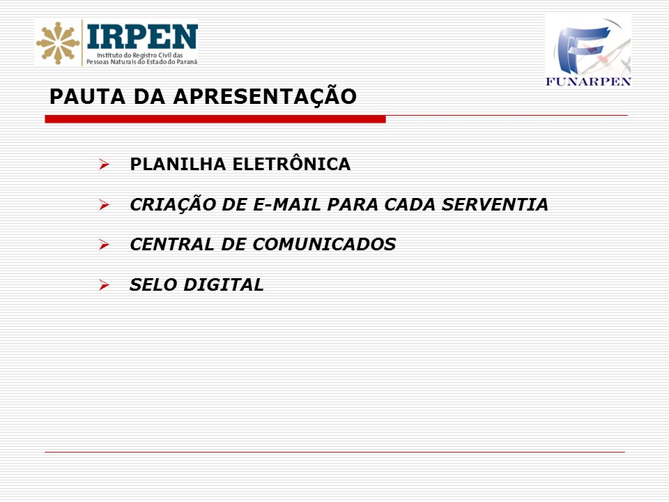 PAUTA DA APRESENTAÇÃO PLANILHA ELETRÔNICA