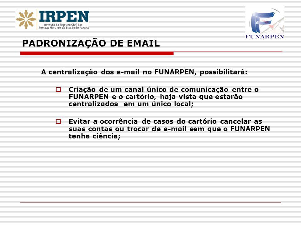 PADRONIZAÇÃO DE EMAIL A centralização dos e-mail no FUNARPEN, possibilitará: