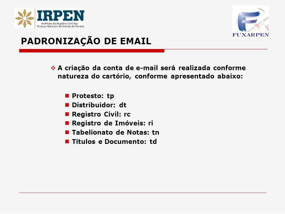PADRONIZAÇÃO DE EMAIL A criação da conta de e-mail será realizada conforme natureza do cartório, conforme apresentado abaixo: