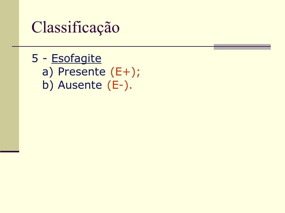 Classificação 5 - Esofagite a) Presente (E+); b) Ausente (E-).
