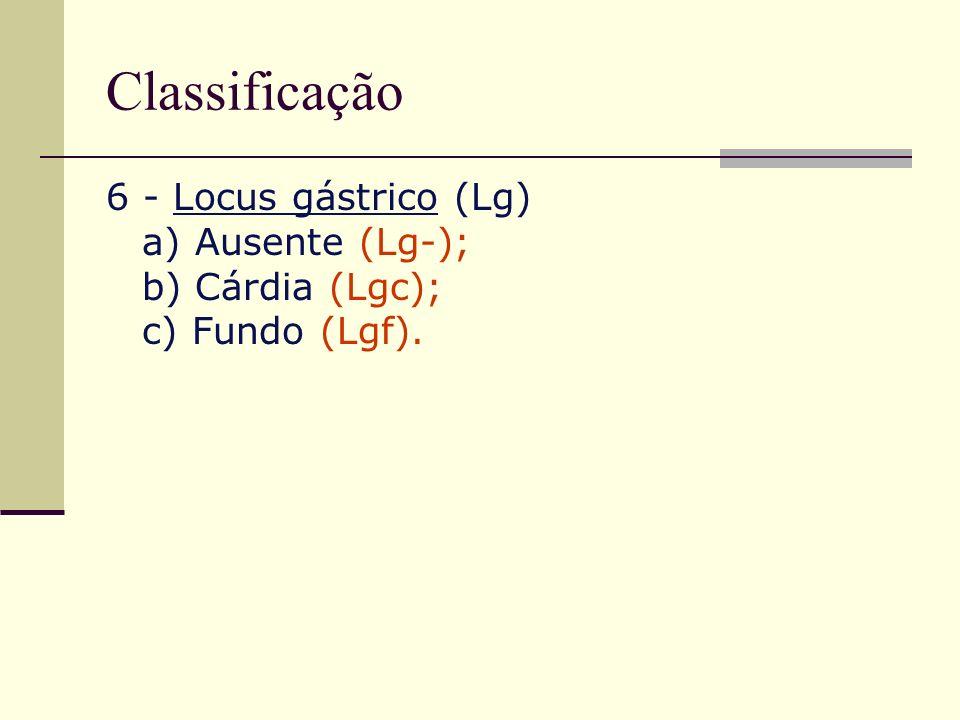 Classificação 6 - Locus gástrico (Lg) a) Ausente (Lg-); b) Cárdia (Lgc); c) Fundo (Lgf).