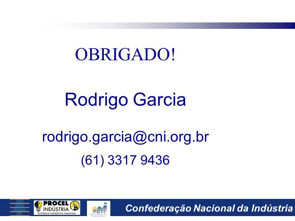 OBRIGADO! Rodrigo Garcia rodrigo.garcia@cni.org.br (61) 3317 9436