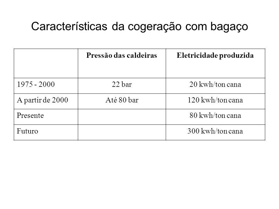 Características da cogeração com bagaço