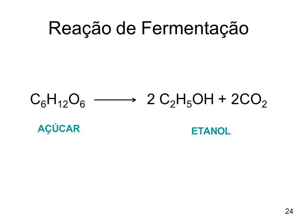 Reação de Fermentação C6H12O6 2 C2H5OH + 2CO2 AÇÚCAR ETANOL 24