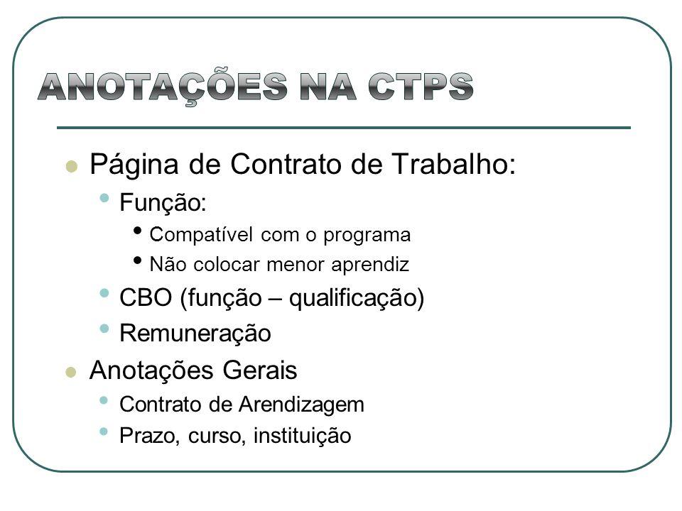 ANOTAÇÕES NA CTPS Página de Contrato de Trabalho: Anotações Gerais