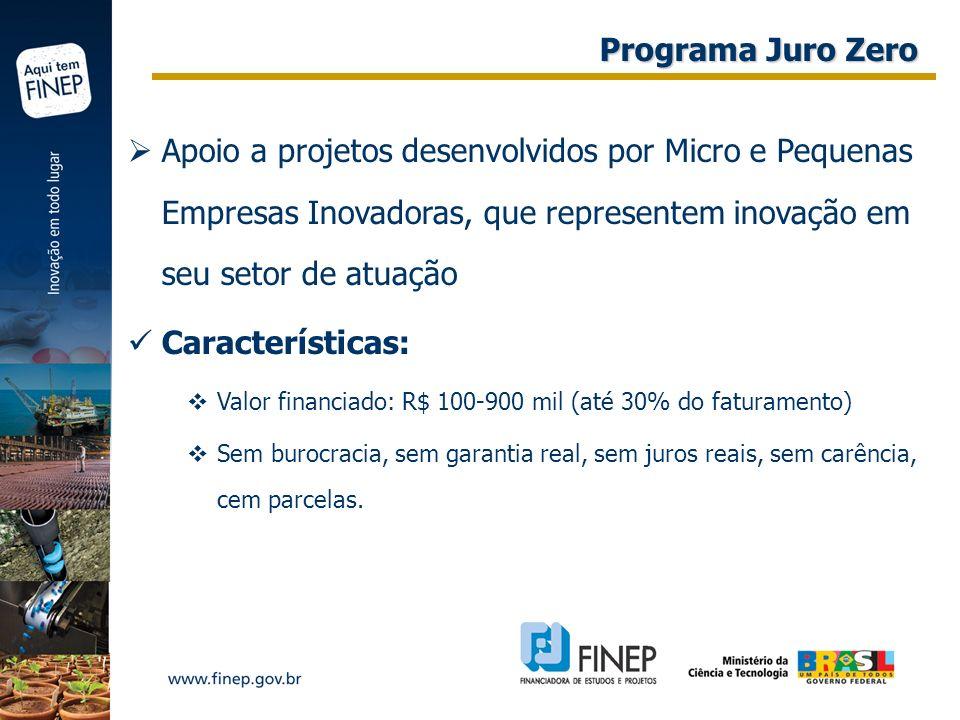 Programa Juro Zero Apoio a projetos desenvolvidos por Micro e Pequenas Empresas Inovadoras, que representem inovação em seu setor de atuação.