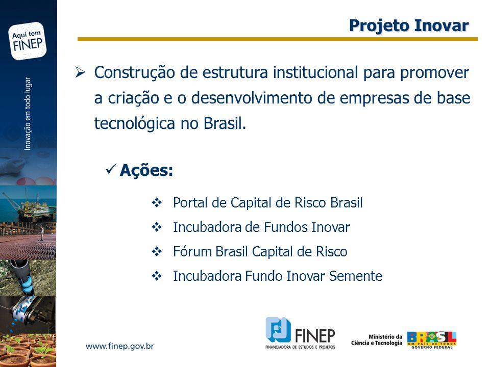 Projeto Inovar Construção de estrutura institucional para promover a criação e o desenvolvimento de empresas de base tecnológica no Brasil.