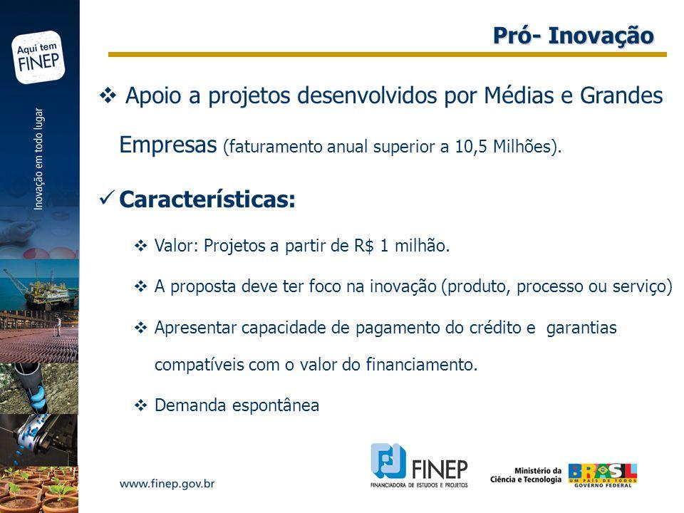 Pró- Inovação Apoio a projetos desenvolvidos por Médias e Grandes Empresas (faturamento anual superior a 10,5 Milhões).