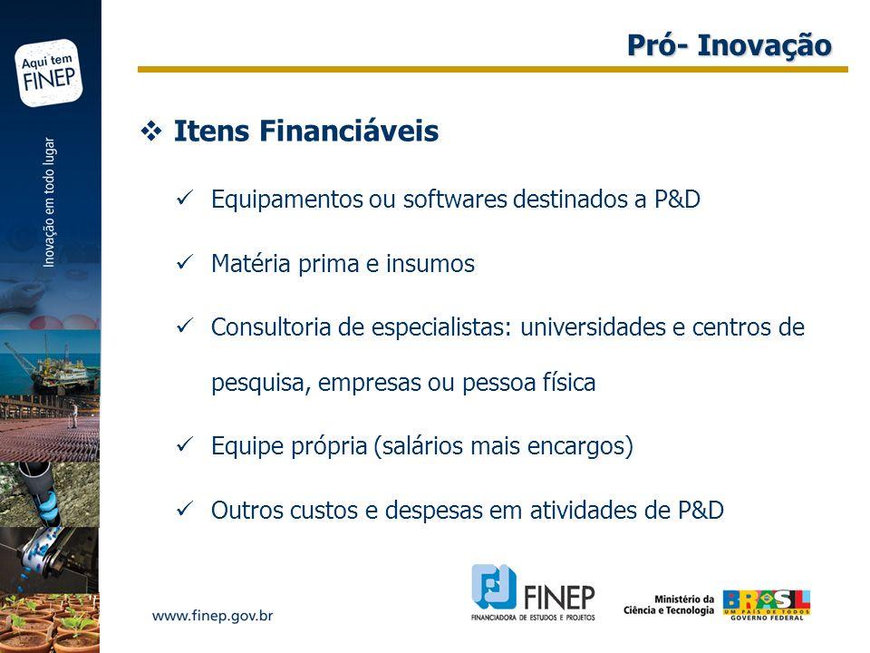 Pró- Inovação Itens Financiáveis