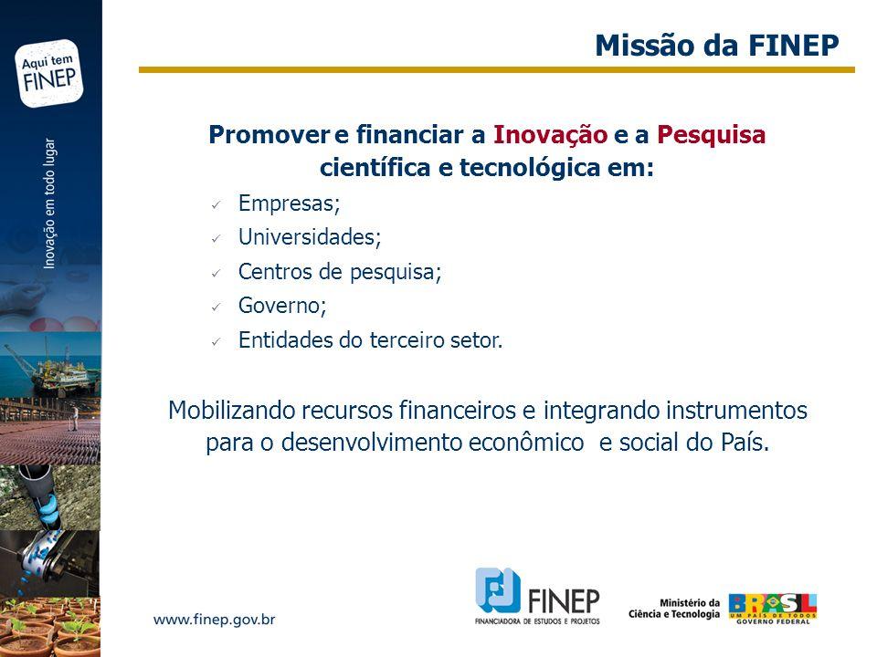 Missão da FINEP Promover e financiar a Inovação e a Pesquisa científica e tecnológica em: Empresas;