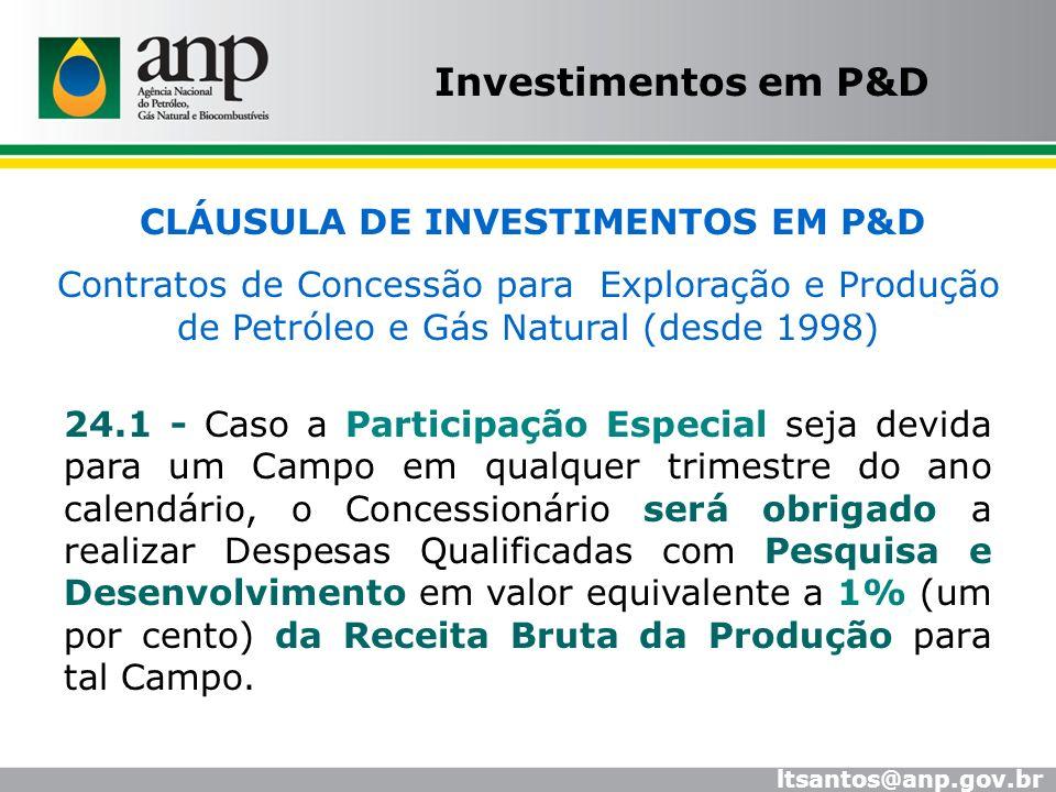 CLÁUSULA DE INVESTIMENTOS EM P&D