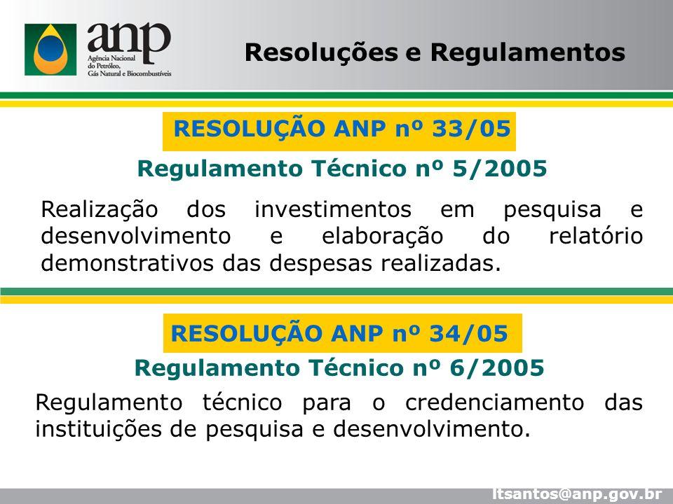 Resoluções e Regulamentos Regulamento Técnico nº 5/2005