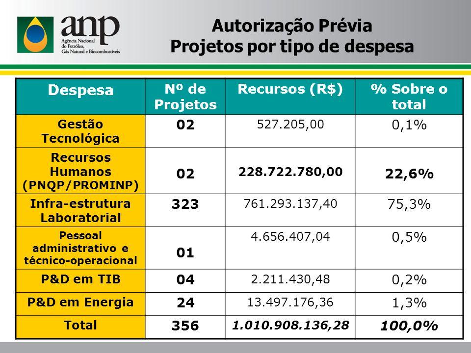 Autorização Prévia Projetos por tipo de despesa