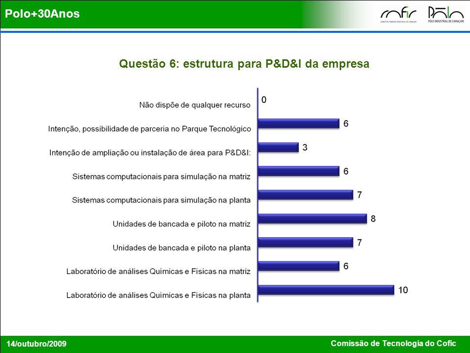 Questão 6: estrutura para P&D&I da empresa