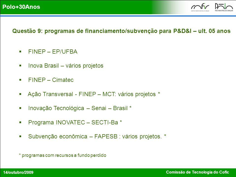 Inova Brasil – vários projetos FINEP – Cimatec