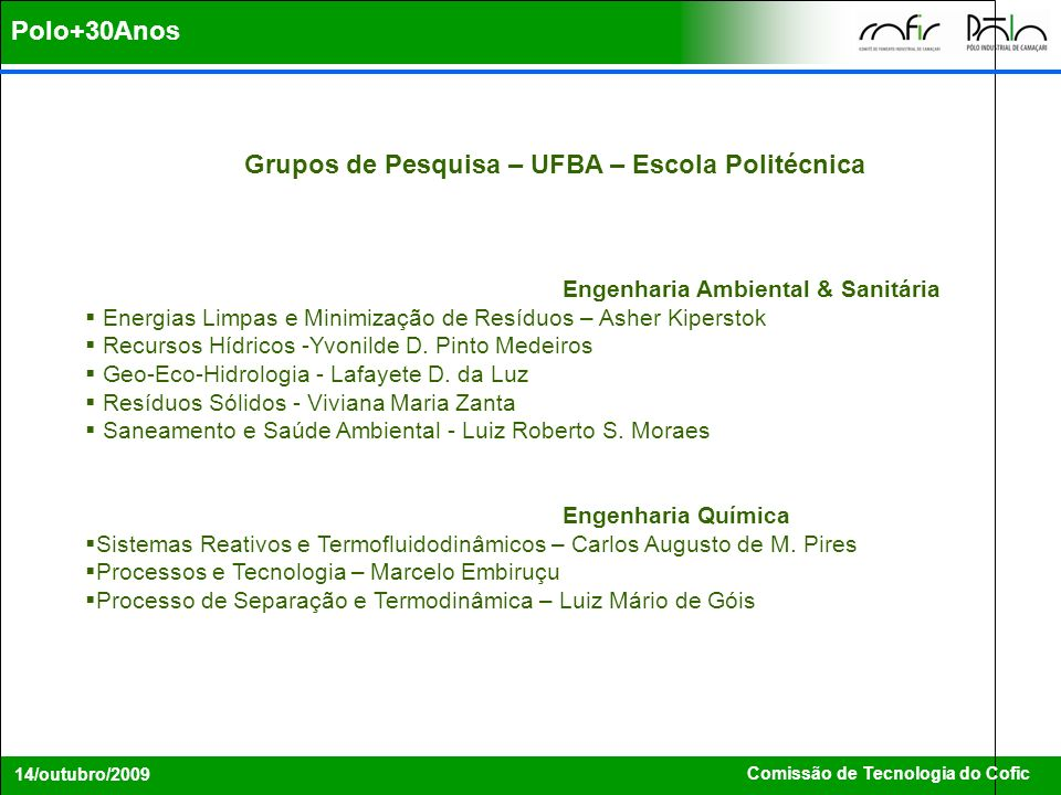 Polo+30Anos Grupos de Pesquisa – UFBA – Escola Politécnica