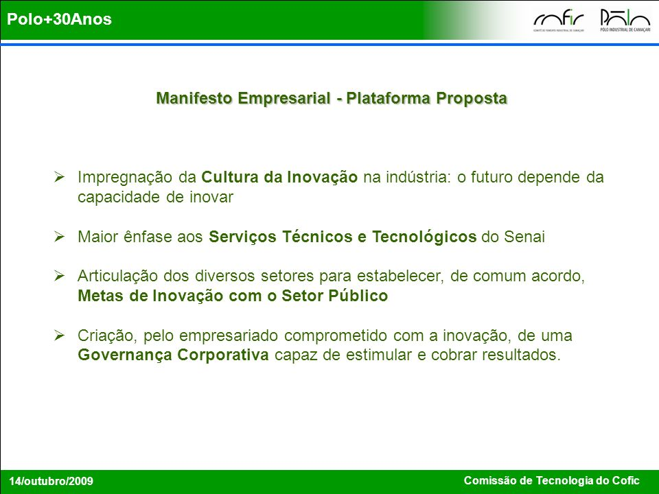 Manifesto Empresarial - Plataforma Proposta