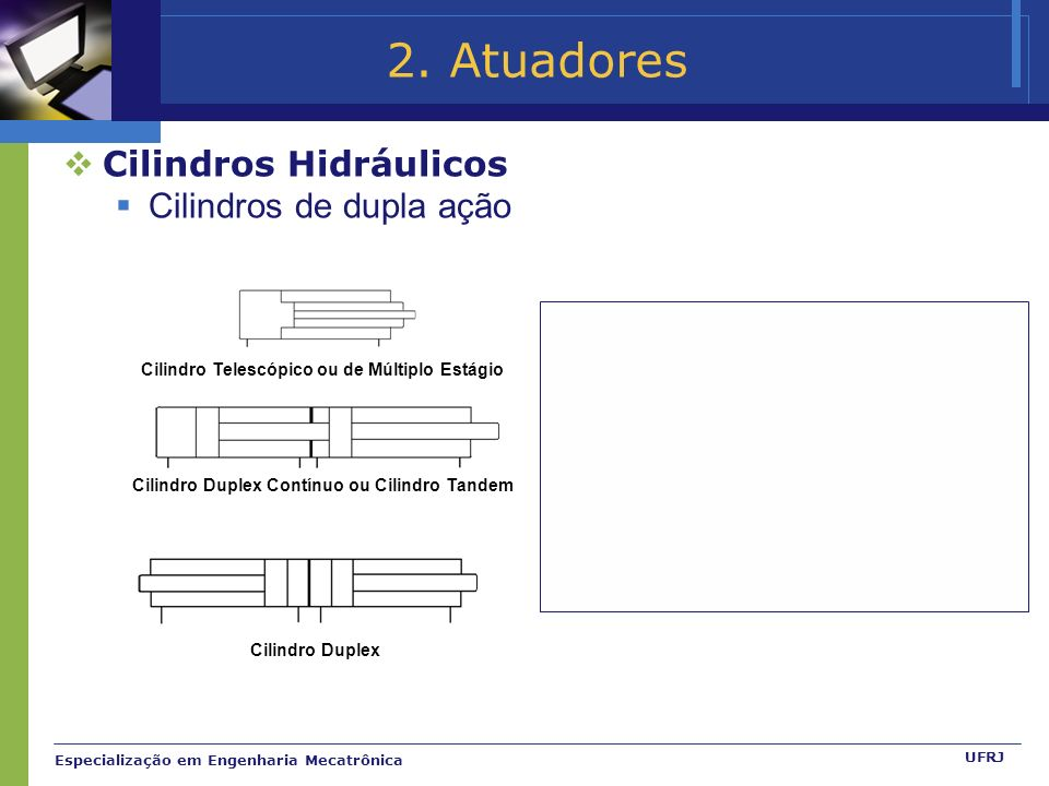 2. Atuadores Cilindros Hidráulicos Cilindros de dupla ação