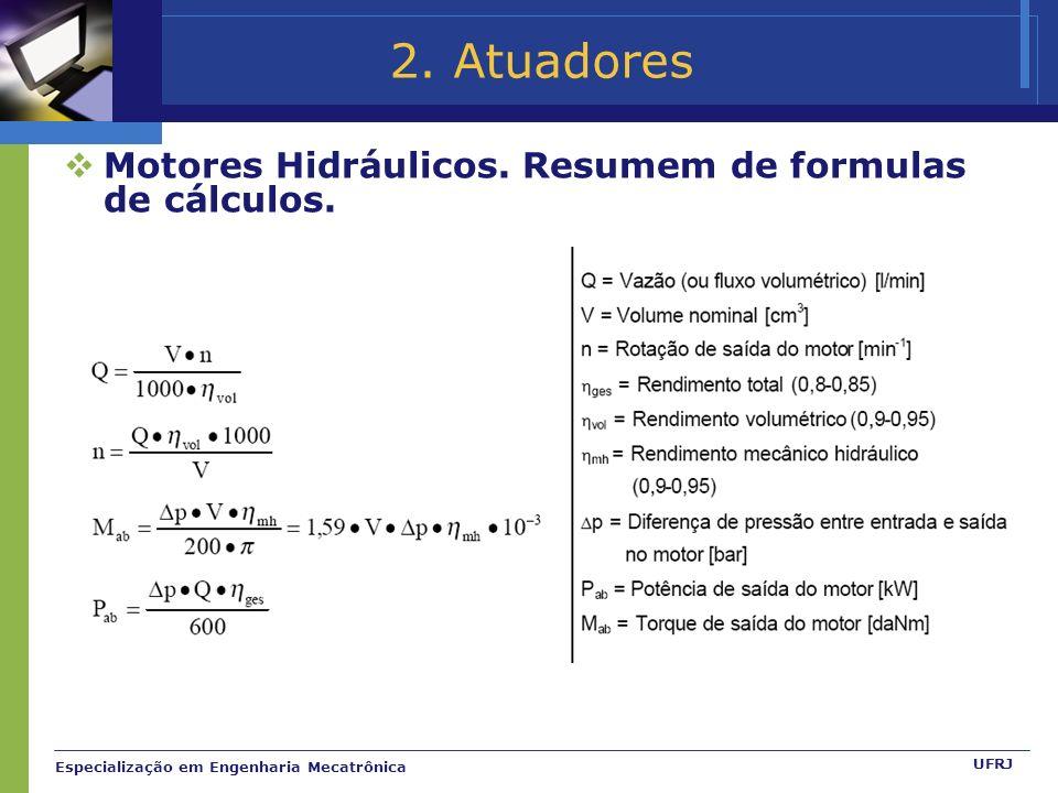 2. Atuadores Motores Hidráulicos. Resumem de formulas de cálculos.