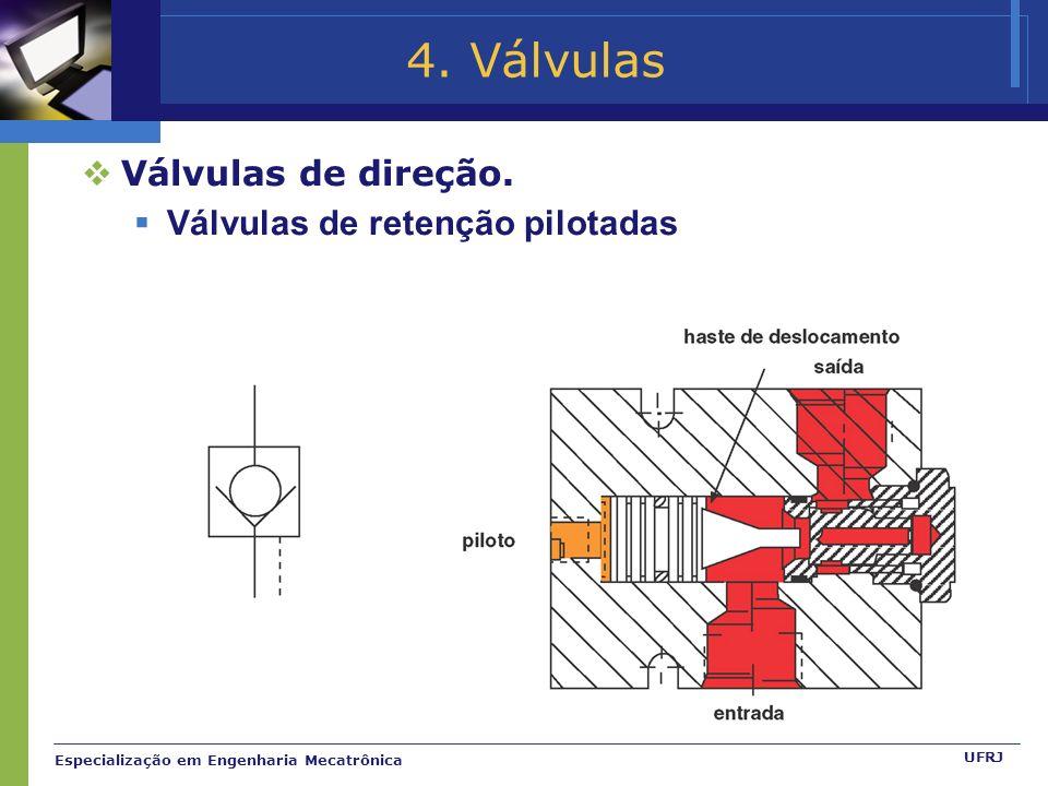 4. Válvulas Válvulas de direção. Válvulas de retenção pilotadas