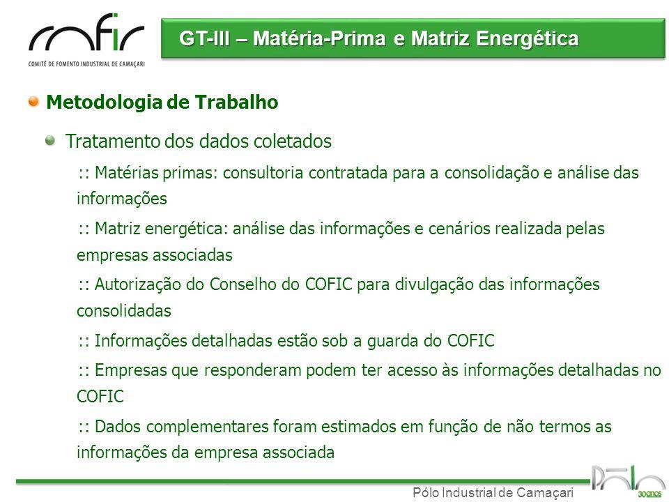 GT-III – Matéria-Prima e Matriz Energética