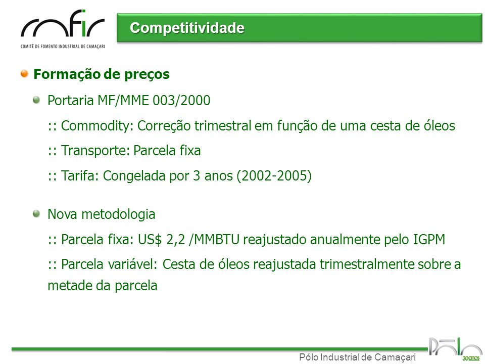 Competitividade Formação de preços Portaria MF/MME 003/2000