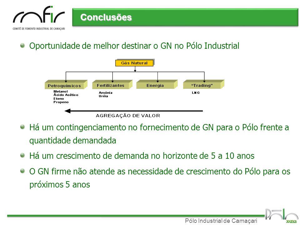 Conclusões Oportunidade de melhor destinar o GN no Pólo Industrial