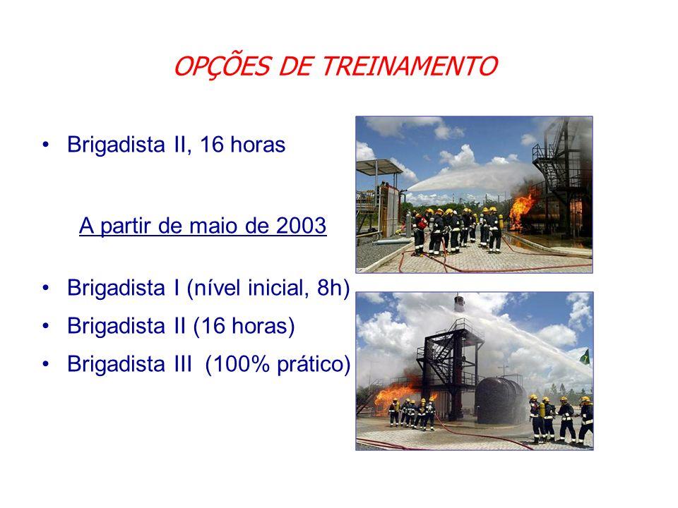 OPÇÕES DE TREINAMENTO Brigadista II, 16 horas A partir de maio de 2003