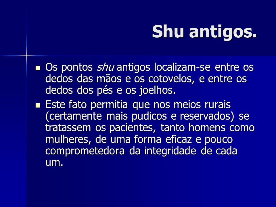 Shu antigos. Os pontos shu antigos localizam-se entre os dedos das mãos e os cotovelos, e entre os dedos dos pés e os joelhos.